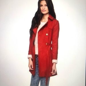 New Red Long Pea Trench Coat Jacket Outerwear Belt